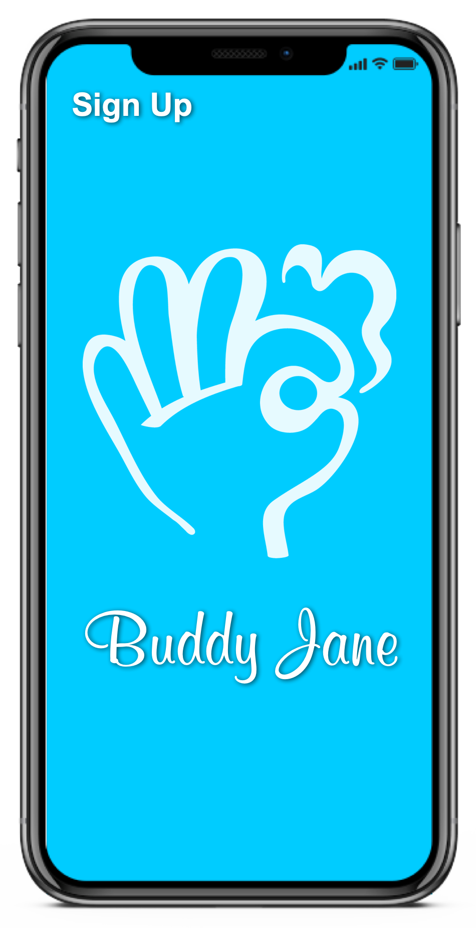 the front page of the Buddy Jane App. It depicts the Buddy Jane logo in white in front of a blue background.